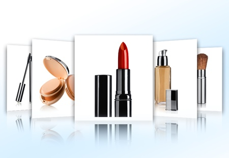Cosmetic theme collage composed of different image Stock Photo - 8627586