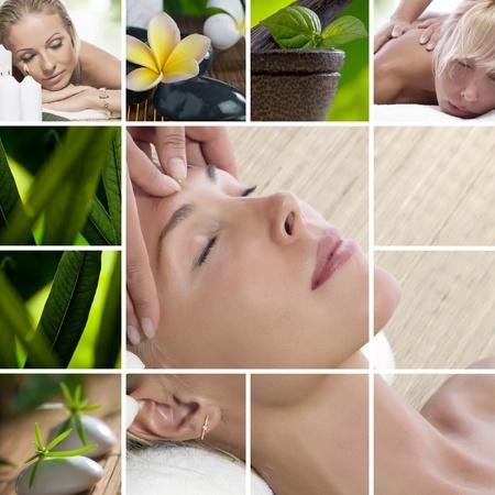 gezondheid: Spa thema fotocollage samengesteld uit verschillende afbeeldingen