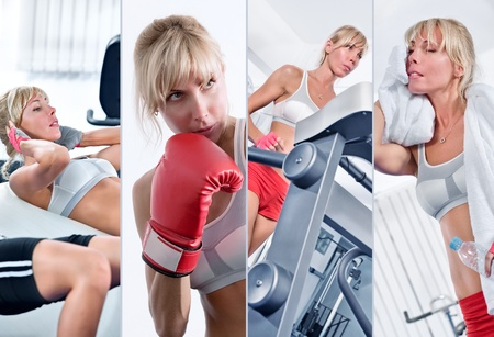 Healthy lifestyle  theme collage composed of different images Stock Photo - 9096367