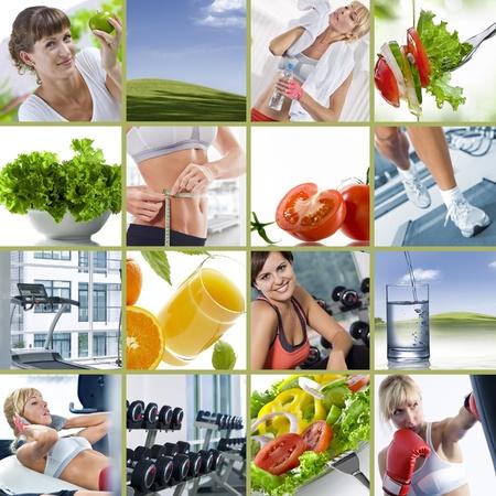 nutrici�n: Collage de estilo de vida saludable tema compuesto de im�genes diferentes Foto de archivo
