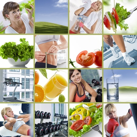 collages: Healthy lifestyle  theme collage composed of different images Stock Photo
