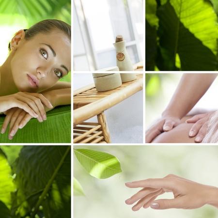 de hierbas: Collage de fotos de spa tema compuesto de im�genes diferentes