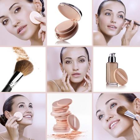 Collage de belleza tema compuesto de imágenes diferentes Foto de archivo