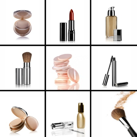beauty make up: Close up view of cosmetic theme objects on white back