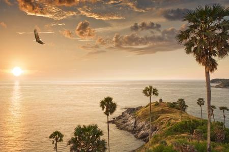 Panoramic view of nice tropic island  during sunset Stock Photo