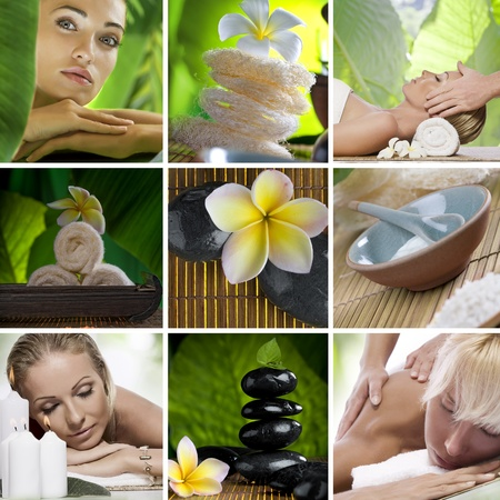 nature cure: Spa theme collage composed of different images