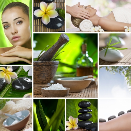 beauty salon: Collage de spa tema compuesto de im�genes diferentes Foto de archivo