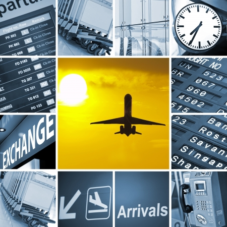 cronograma: Mezcla de aeropuerto tema compuesto de im�genes diferentes Foto de archivo