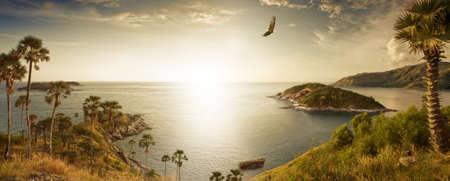 bird of paradise: Panoramic view of nice tropic island  during sunset Stock Photo