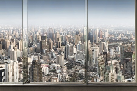 windows: panoramic view of  window and nice big city