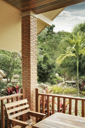 panoramic view of nice summer terrace in tropic environment Stock Photo - 9797787