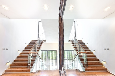 panoramic view of big stair reflecting in the mirror