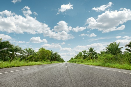 asphalt road: panoramic  color view of nice summer empty road  Stock Photo