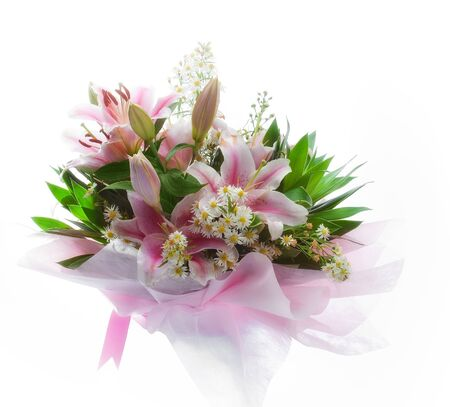 wed: close up view of nice fresh bouquet  on white back