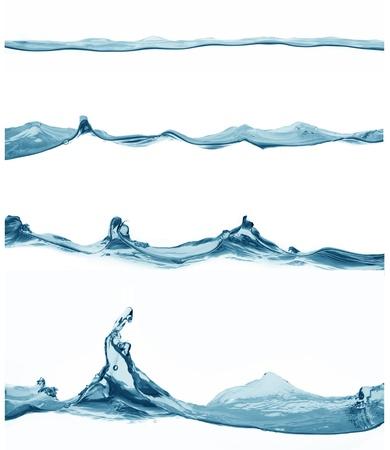 agua: Cerrar vista de superficie del agua vertida en espalda blanca para ser recortado