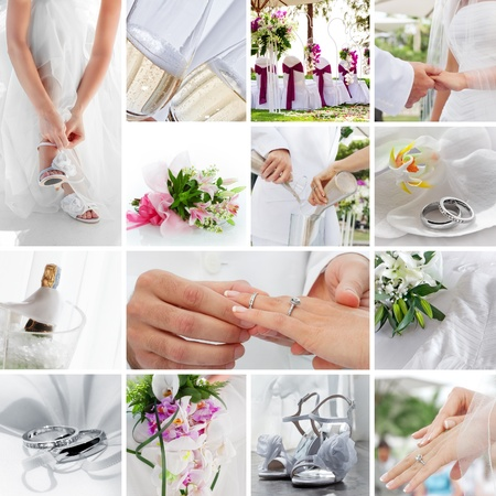 hochzeit: Thema Hochzeit Collage aus verschiedenen Bildern zusammengesetzt
