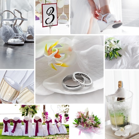 composed: wedding theme collage composed of different images Stock Photo