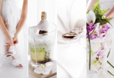 heiraten: Thema Hochzeit Collage aus verschiedenen Bildern zusammengesetzt