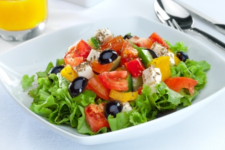 close up food: close up view of nice  vegetable salad  on white back Stock Photo