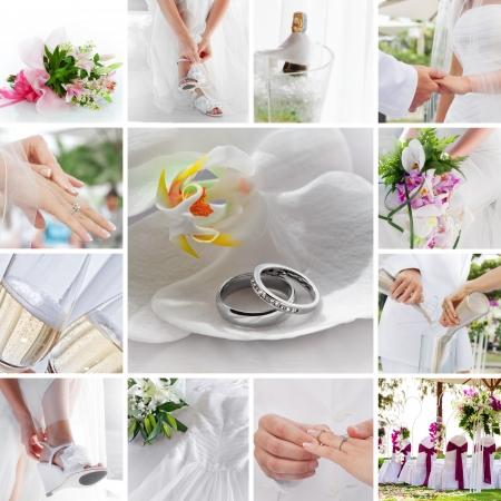 결혼식: 다른 이미지로 구성된 웨딩 테마 콜라주