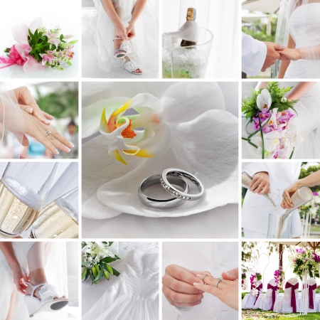 wedding theme collage composed of different images Stock Photo