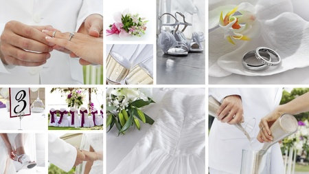 wedding theme collage composed of different images Stock Photo - 12409300