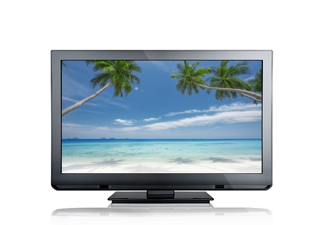 hd tv: close up view of nice black tv on white back
