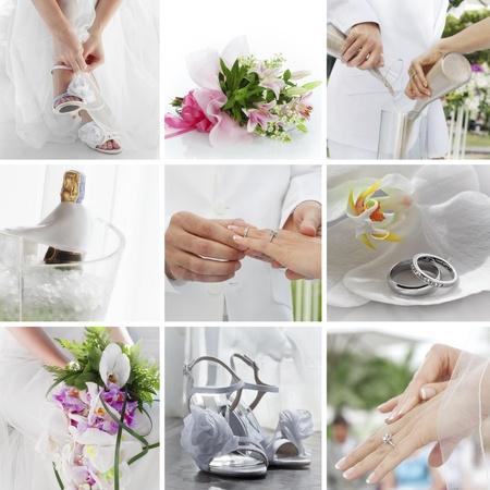 anniversario matrimonio: wedding collage tema composto da immagini diverse Archivio Fotografico