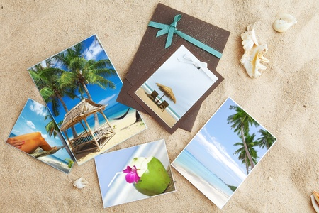 Tropic beach theme collage composed of few photos
