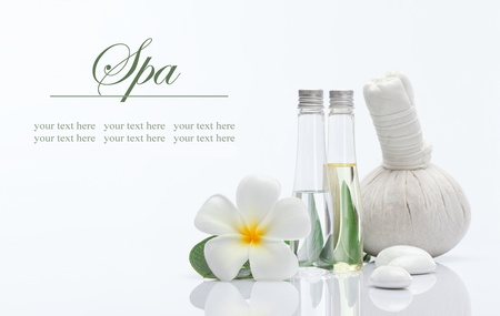 massage therapy: spa theme object on white background  banner  lots of copy space