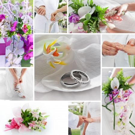 wedding theme collage composed of different images Stock Photo - 13678964