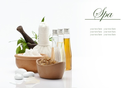 thai massage: spa theme object on white background  banner  lots of copy space