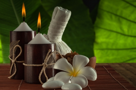close up view of spa theme objects on green back photo