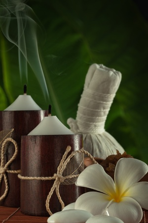 close up view of spa theme objects on green back Stock Photo - 13697326