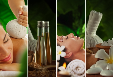 massage herbal: Spa theme collage composed of a few images Stock Photo