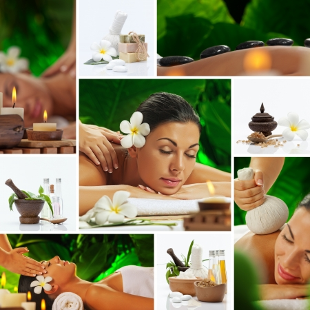 salon and spa: Spa theme  photo collage composed of different images