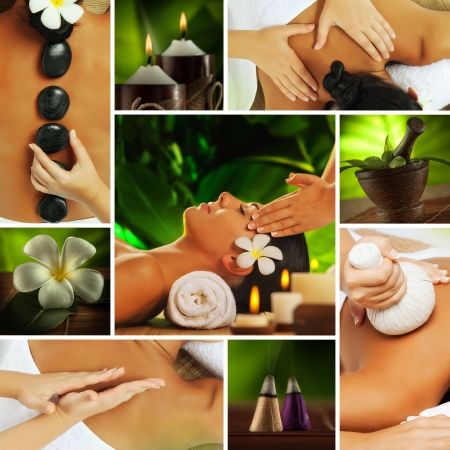 stone massage: Spa theme  photo collage composed of different images