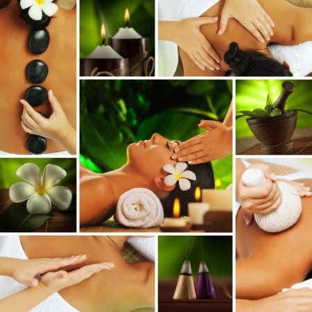 masoterapia: Tema de Spa foto collage compuesto por diversas imágenes Foto de archivo