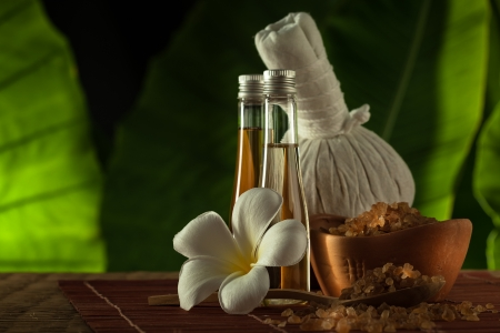 massage herbal: close up view of spa theme objects on green back