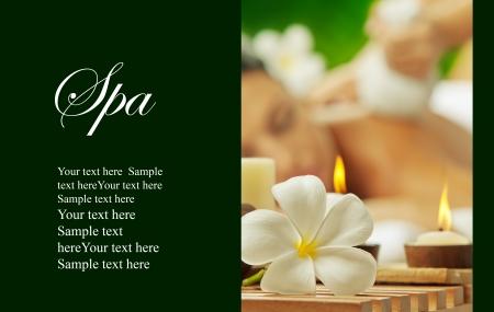 massage: Ansicht von Spa theme Objekt auf Farbe zur�ck banner viel Platz f�r Ihren Text Lizenzfreie Bilder