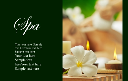 salon and spa: View of Spa theme object on color back  banner  lots of space for your text