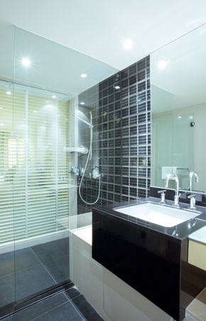 Fragment like view of nice modern stylish bathroom interior  Banque d'images