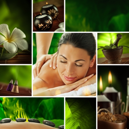 relax skin: Spa theme  photo collage composed of different images
