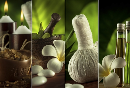 masaje: Spa collage tema compuesto por unas pocas im�genes Foto de archivo