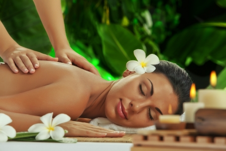 health resort treatment: portrait of young beautiful woman in spa environment