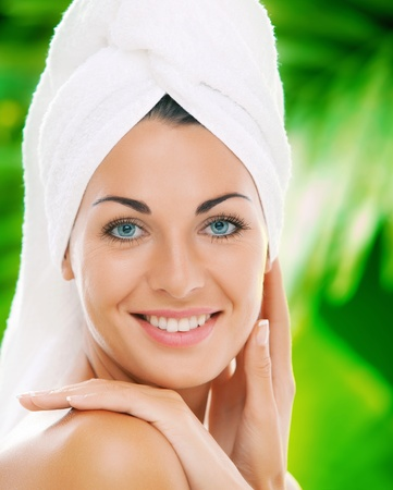 portrait of young beautiful woman  in spa environment  Stockfoto