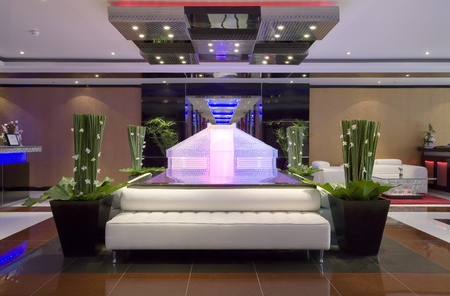 Panoramic view of nice modern stylish hotel lobby  interior