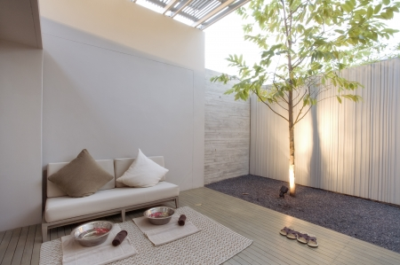 Fragment like image of nice modern  summer  spa patio