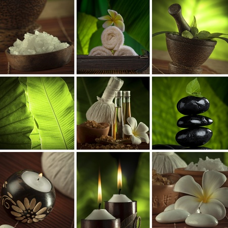massage huile: Collage de th�me Spa compos� de quelques images Banque d'images