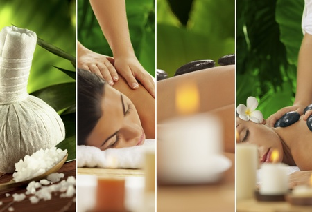 composed: Spa theme collage composed of a few images Stock Photo